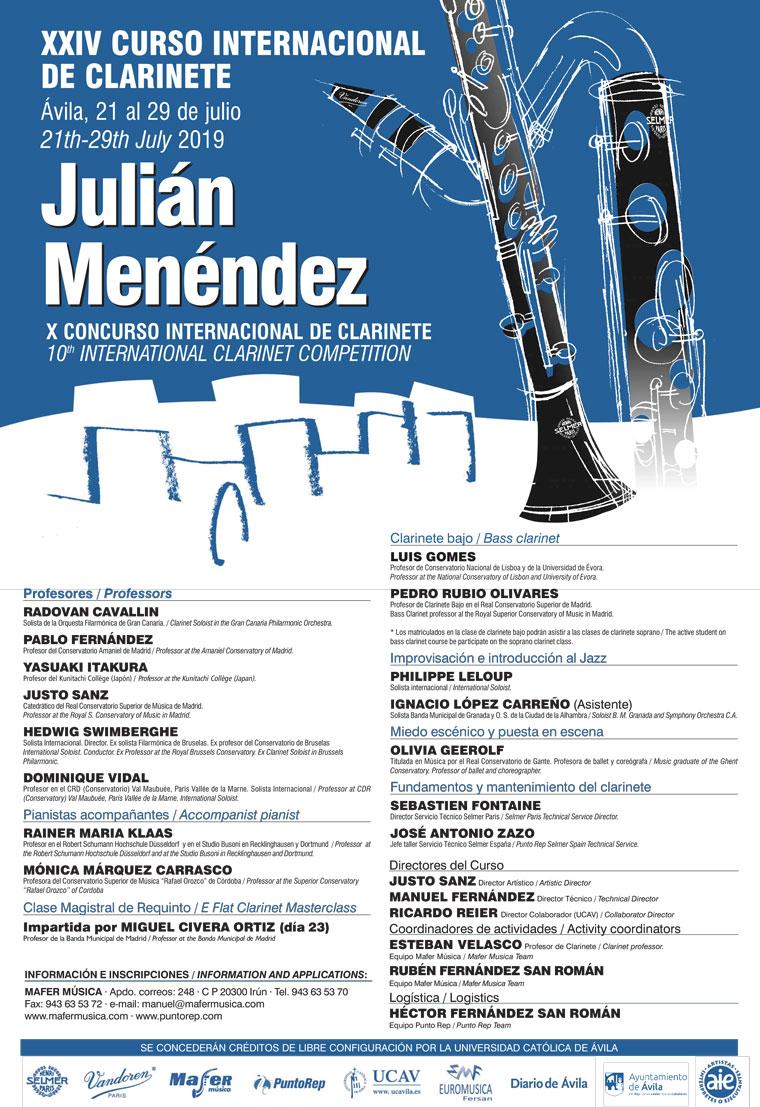 Cartel XXIV curso Internacional de Clarinete